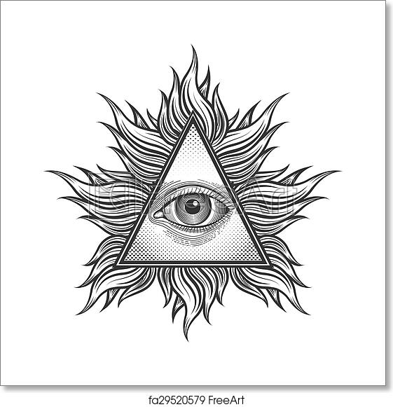 Free Art Print Of All Seeing Eye Pyramid Symbol In The Engraving