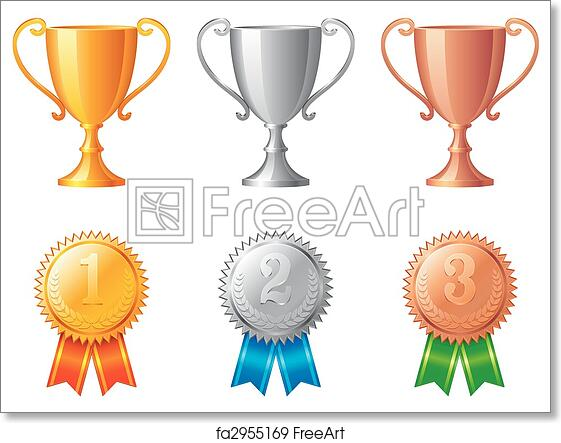 picture about Printable Trophy named Totally free artwork print of Trophy cups and medals.