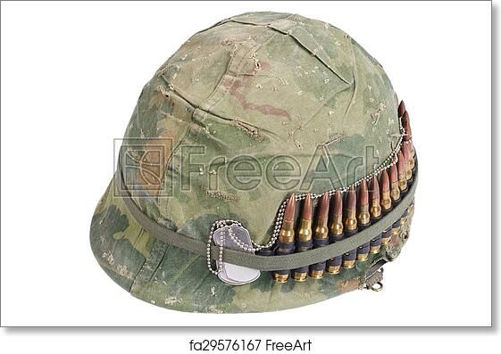 Free Art Print Of US Army Helmet With Camouflage Cover And