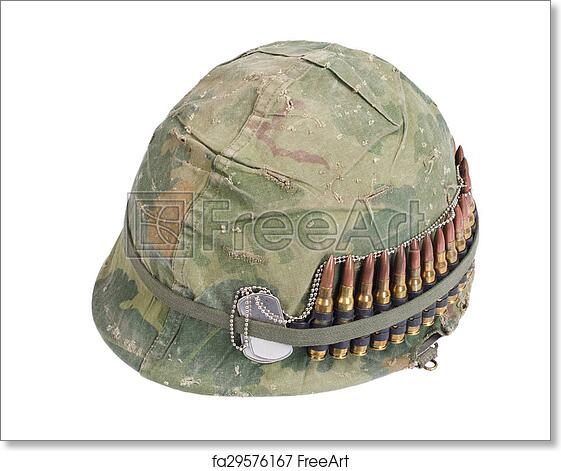 Free Art Print Of Us Army Helmet With Camouflage Cover And Ammo Belt And Dog Tags Vietnam War Period Freeart Fa29576167