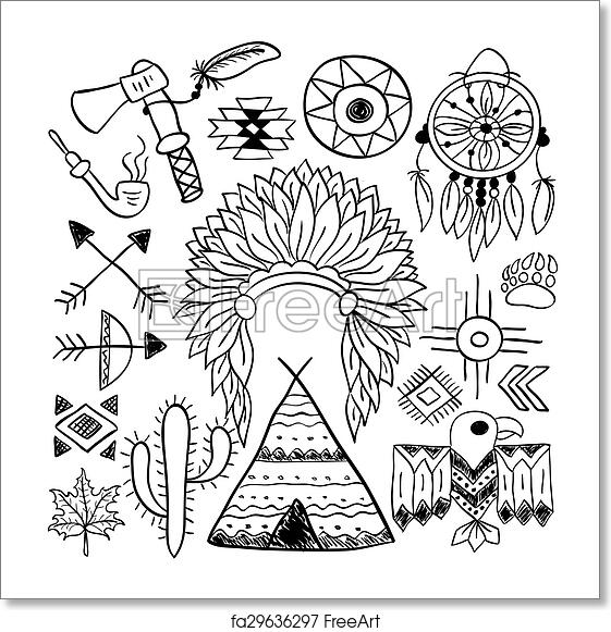 Free Art Print Of Hand Drawn Doodle Vector Native American Symbols
