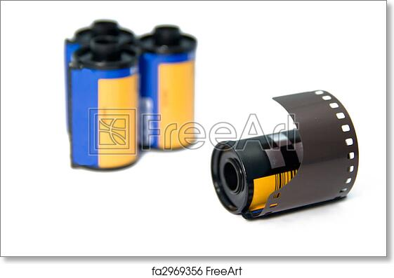 Free art print of 35mm film roll with blurrer rols in the background