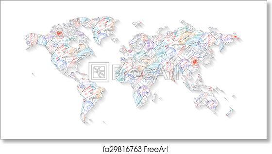 Free art print of Passport Stamps World Map. High Detail Vector ...