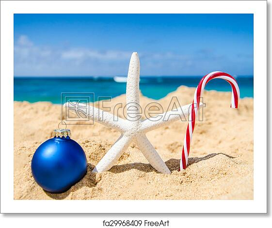free art print of christmas and happy new year background on the tropical beach