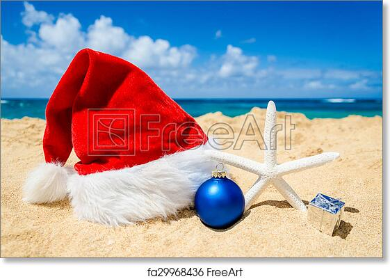 Beach Christmas.Free Art Print Of Christmas Background With Santa Claus Hat And Staerfish In The Beach