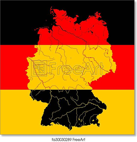 Map Of Germany With Rivers.Free Art Print Of Map Of Germany With Rivers On German Flag Map Of
