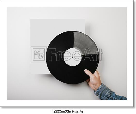 Free Art Print Of Male Hand Holding Vinyl Music Album Template On