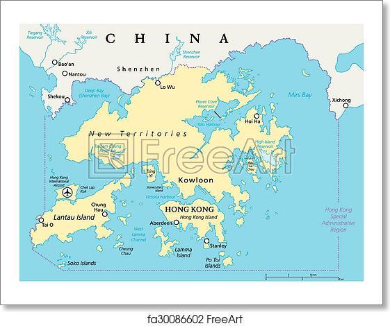 English Map Of The World.Free Art Print Of Hong Kong And Vicinity Map