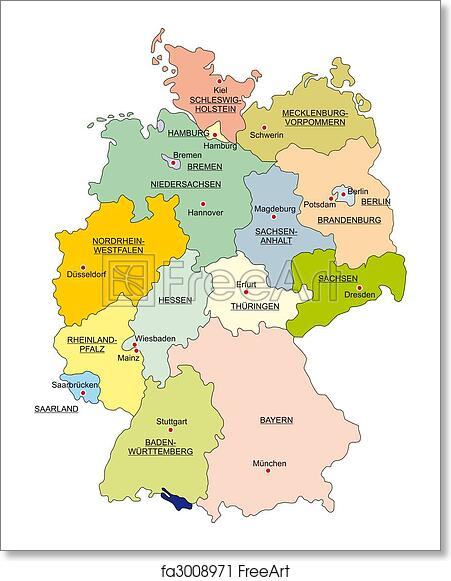 Map Of Germany To Print.Free Art Print Of Map Of Germany