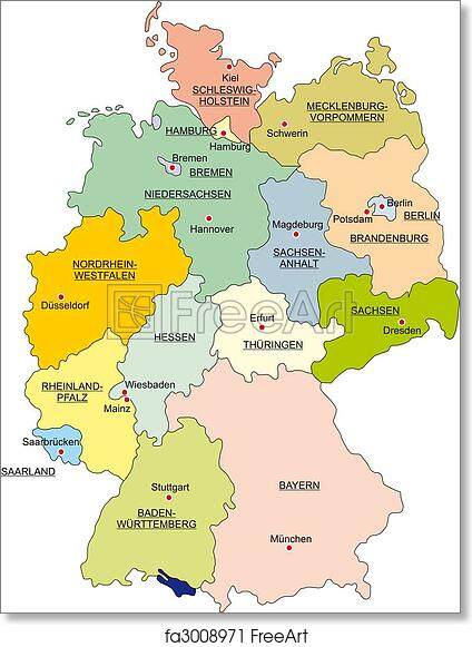 photo about Printable Maps of Germany known as Absolutely free artwork print of Map of Germany