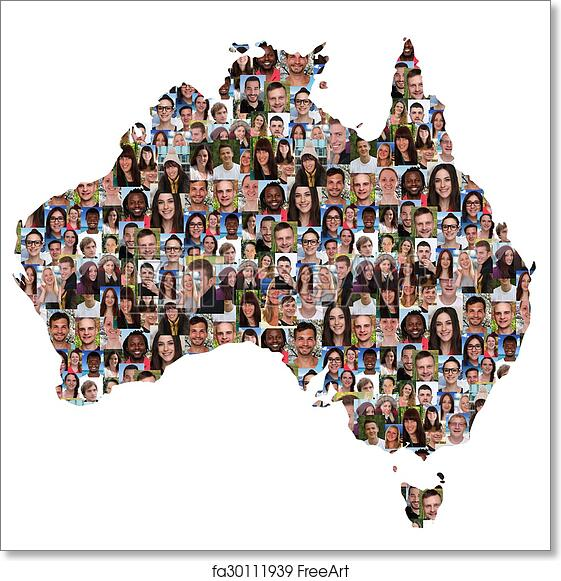 Australia Map Art.Free Art Print Of Australia Map Multicultural Group Of Young People Integration Diversity