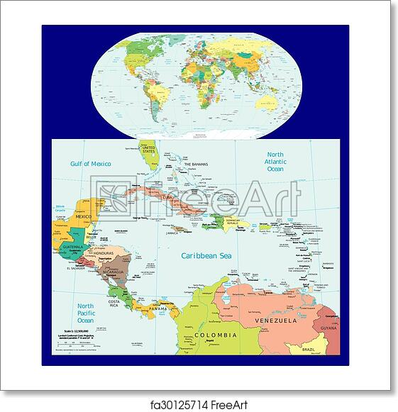 Free art print of World Central America Caribbean. World Central ...