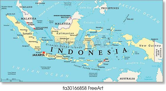Free art print of Indonesia Political Map Indonesia political map
