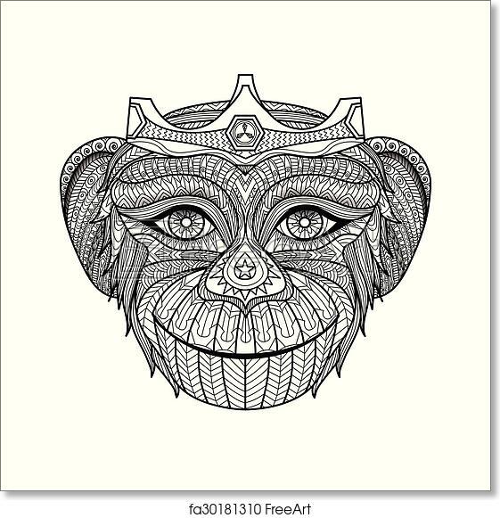 Free art print of Monkey coloring book. Vector, monkey, monkeys ...