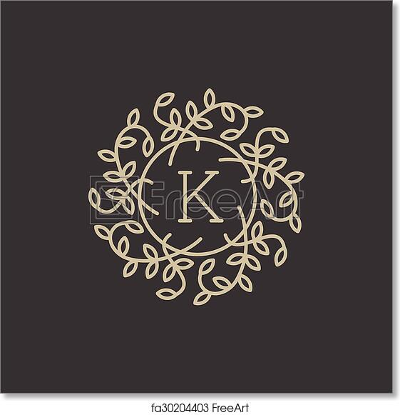 free art print of floral monogram with letter k