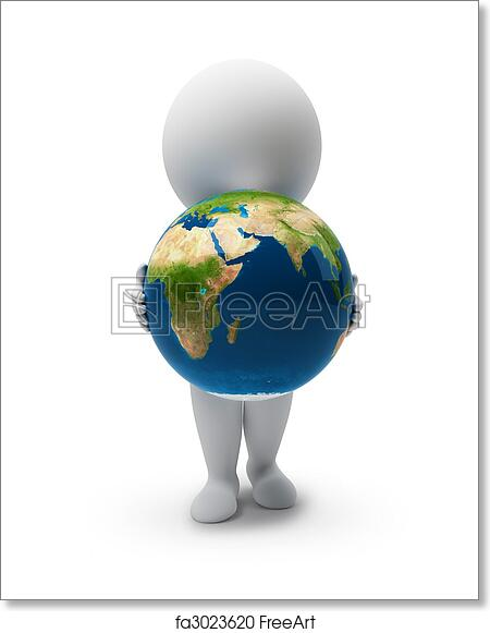 3d small people with a planet the earth  3d image  isolated white  background