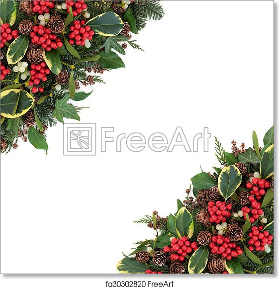free art print of winter holly border christmas and winter flora
