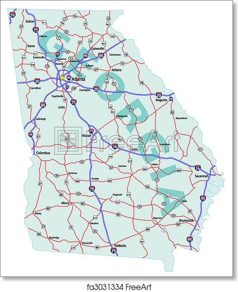 photograph regarding Printable Maps of Georgia identified as Cost-free artwork print of Ga Region Interstate Map