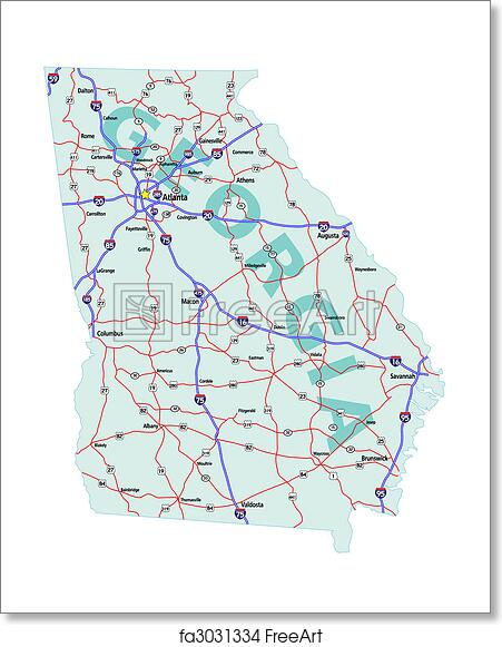 Map Of The State Of Georgia.Free Art Print Of Georgia State Interstate Map Georgia State Road