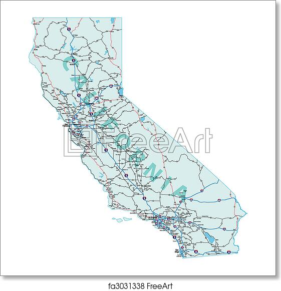 Free art print of California Interstate Highway Map
