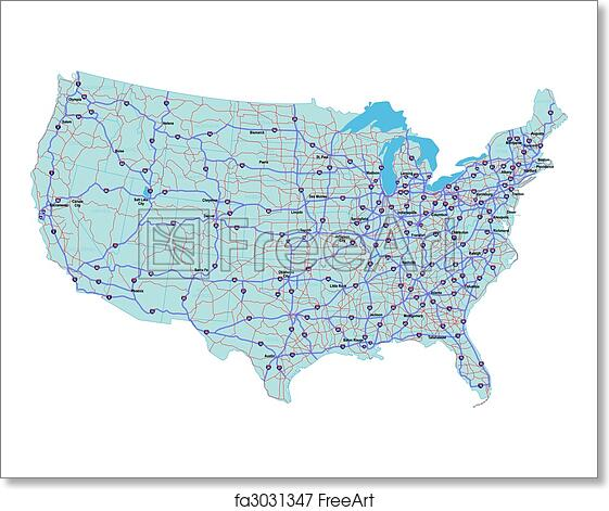 Free art print of Interstate Map of the United States