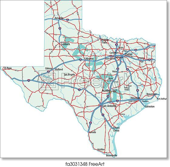 Map Of Texas Highways And Interstates.Free Art Print Of Texas State Road Map Texas State Road Map With