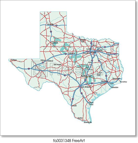Free Art Print Of Texas State Road Map Texas State Road Map With - Texas map outline with cities