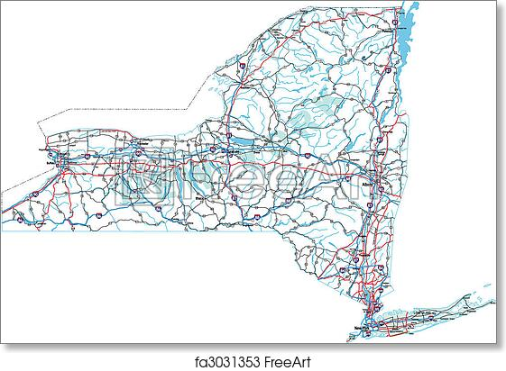 image relating to Printable Maps of New York State named Free of charge artwork print of Fresh new York Interstate Highway Map