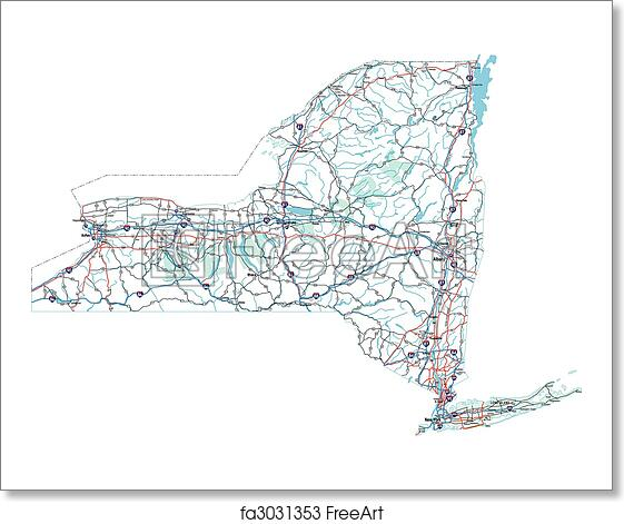 Free art print of New York Interstate Road Map. New York State ... Detailed Map Of New York State on