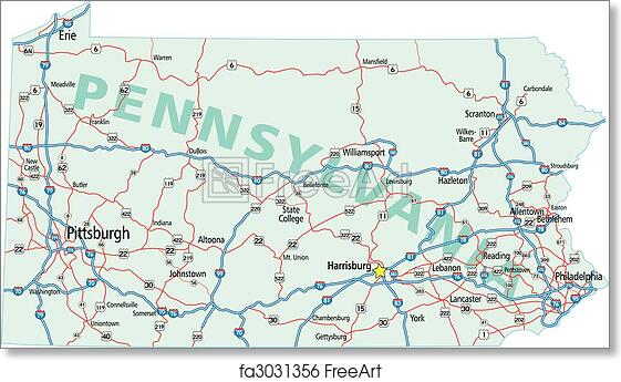 Us Map Pennsylvania - Road map of pennsylvania