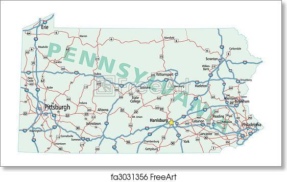 Free Art Print Of Pennsylvania Interstate Road Map Pennsylvania - Us-map-showing-interstates