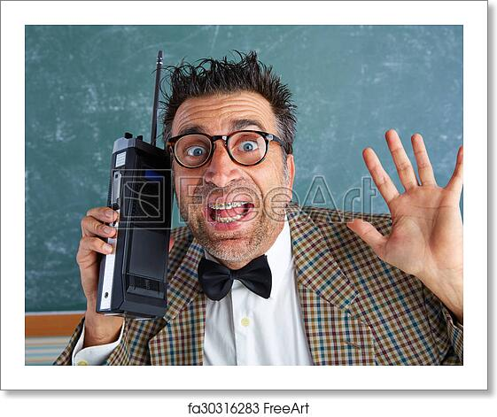 0868fe45b5be Nerd silly private investigator with retro walkie talkie on teacher  balckboard