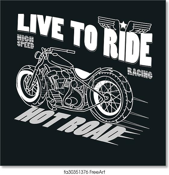 Free Art Print Of Motorcycle Racing Typography Graphics T Shirt