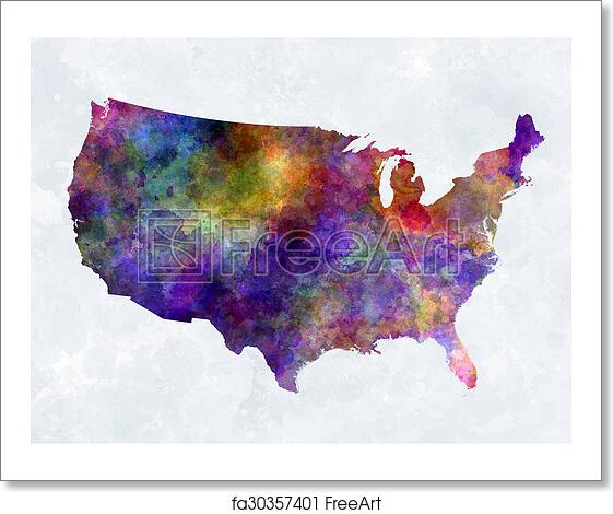 Free Art Print Of USA Map In Watercolor USA Map In Watercolor - Watercolor us map