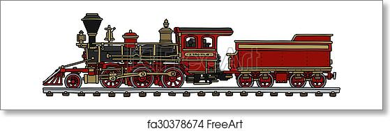 Free art print of Old red american steam locomotive