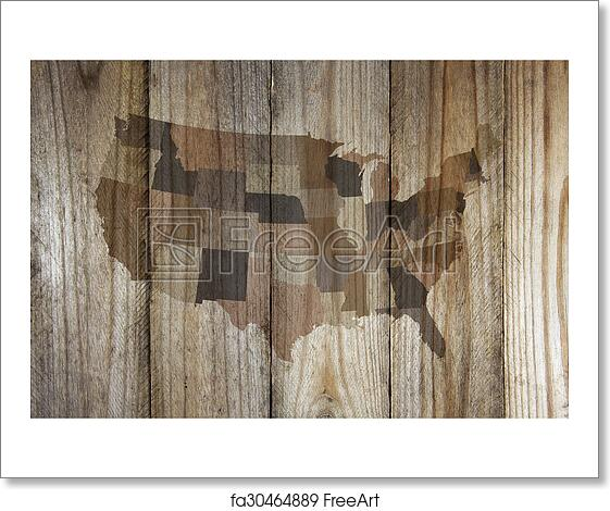 Wood United States Map.Free Art Print Of United States Map On Wooden Background Freeart