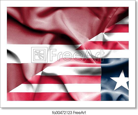 Free art print of Waving flag of Liberia and Latvia