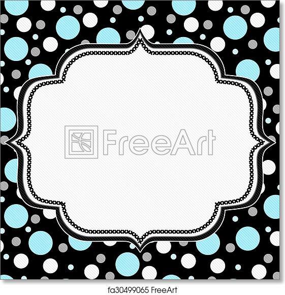 Free art print of Teal, White and Black Polka Dot Frame Background ...