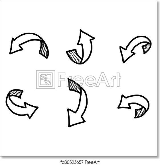 graphic relating to Free Printable Arrows known as Cost-free artwork print of Example vector doodles hand drawn curved arrow with shadow.