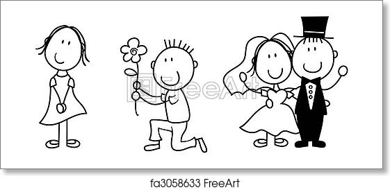 Free art print of Story board love. Set of isolated couple