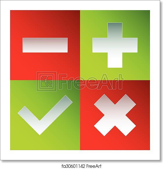 Free art print of Check mark, cross, plus, minus sign set  vector