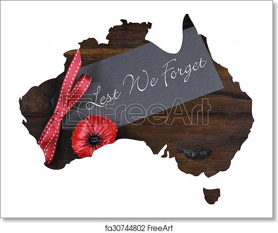 Free art print of Australian Gallipoli Centenary, WWI, April 1915, tribute  with Lest We Forget message and red poppy lapel pin badge inside map of