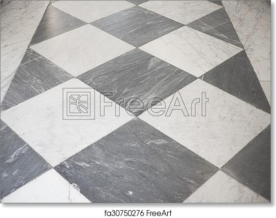 Free Art Print Of Checkered Floor Black And White Marble Checkered