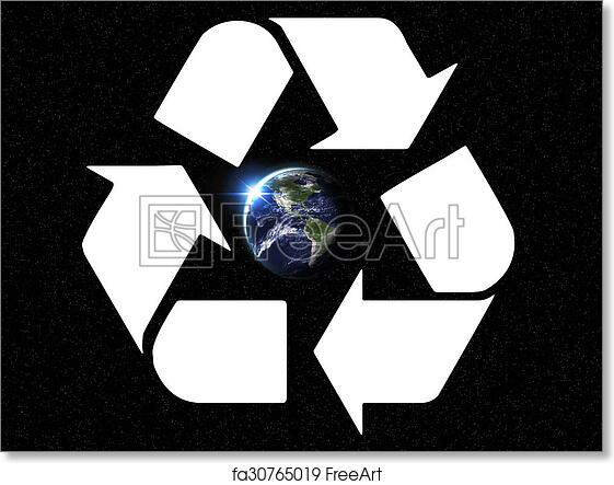 Free Art Print Of Earth Recycle Giant Glowing Recycle Symbol