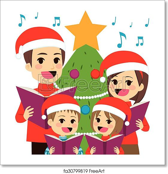 Christmas Singing Images.Free Art Print Of Family Singing Christmas Carols