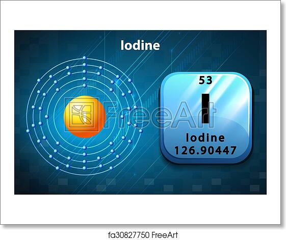 Free Art Print Of Symbol And Electron Diagram For Iodine Symbol And