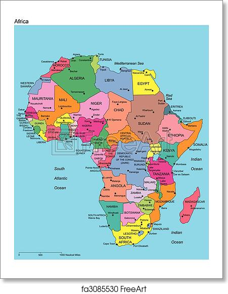 Free art print of Africa with Editable Countries and Names