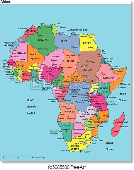 Free Art Print Of Africa With Editable Countries And Names Africa