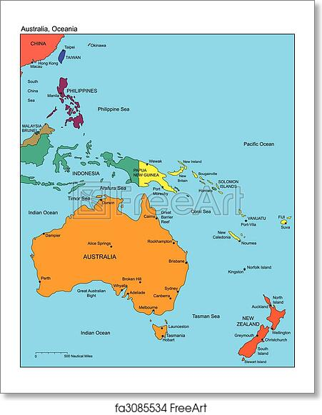 Free art print of Australia and Oceania and Names. Australia and ...