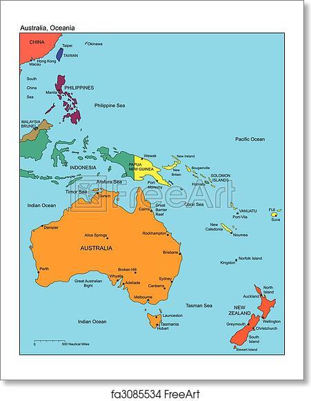Free art print of Australia and Oceania and Names